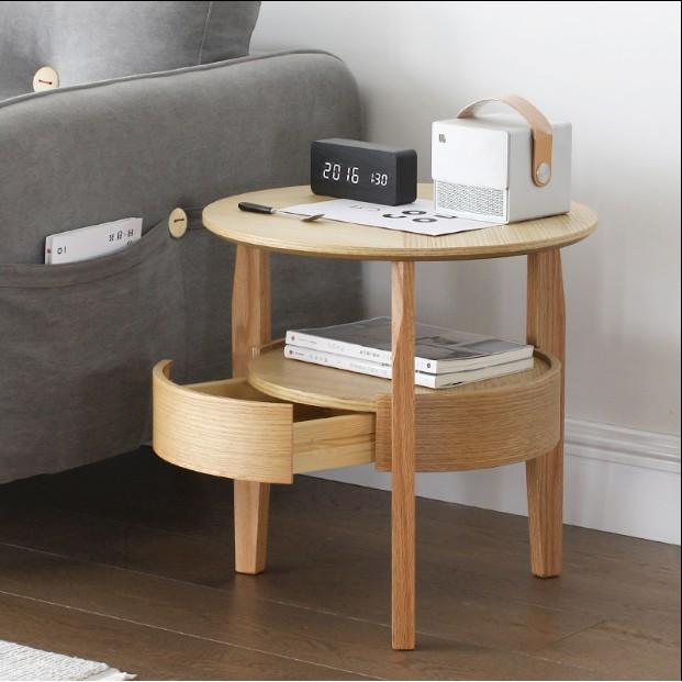 免運 臥室 小茶几 圓形邊桌 日式茶桌 沙發邊幾 簡約現代 迷你 實木 角幾 北歐 小圓桌 實用 小
