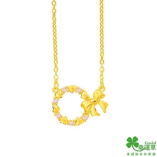 幸運草 甜蜜花圈黃金項鍊現貨+預購