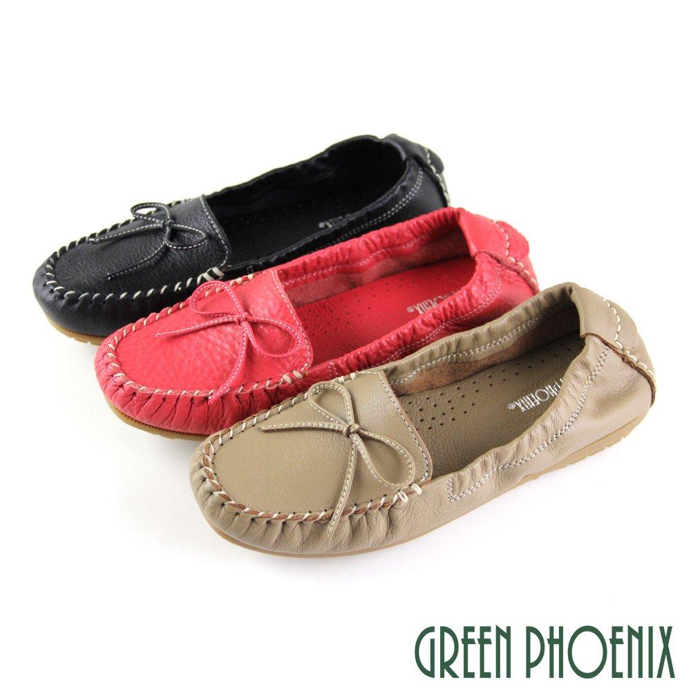 【GREEN PHOENIX】綁帶蝴蝶結束口平底全真皮莫卡辛豆豆鞋U53-20A03