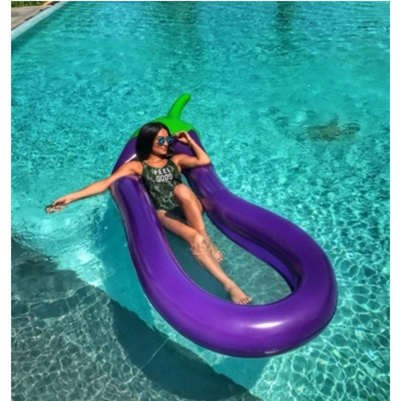 免運 夏季消暑神器 戶外 超大270cm充氣茄子浮排 水上浮漂墊 網布浮床 環保加厚水上 浮床 -