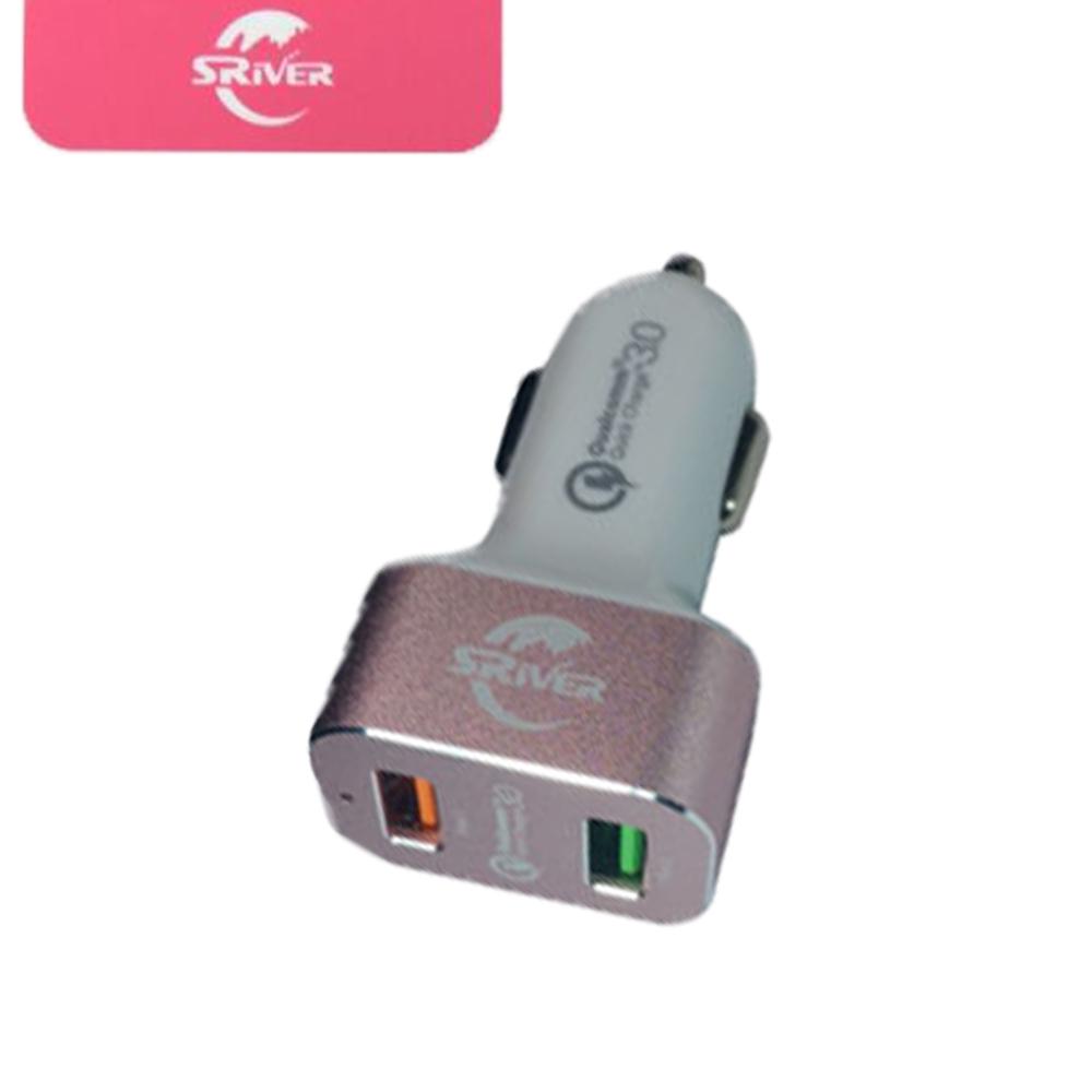 SRivER QC3.0 雙孔USB 智能認證車用充電器