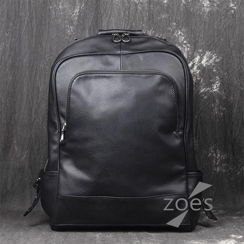 【Zoe s】全真皮多隔層後背電腦包(時尚棕)