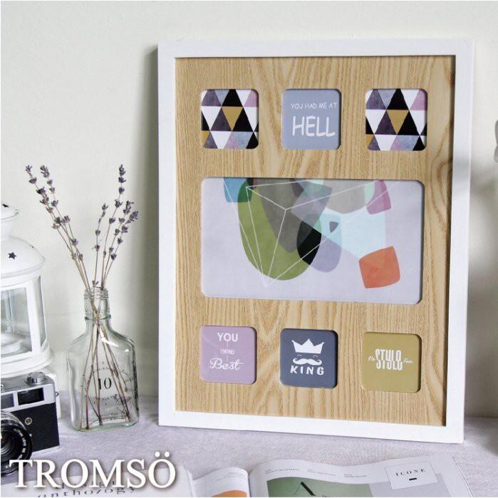 tromso繽紛北歐木紋大相框7框款/3x3 壁掛 簡約北歐風 直式 搬家喬遷禮物臥室房間