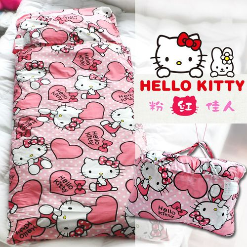 【名流寢飾家居館】Hello Kitty.粉紅佳人.兩用鋪棉型兒童睡袋.全程臺灣製造