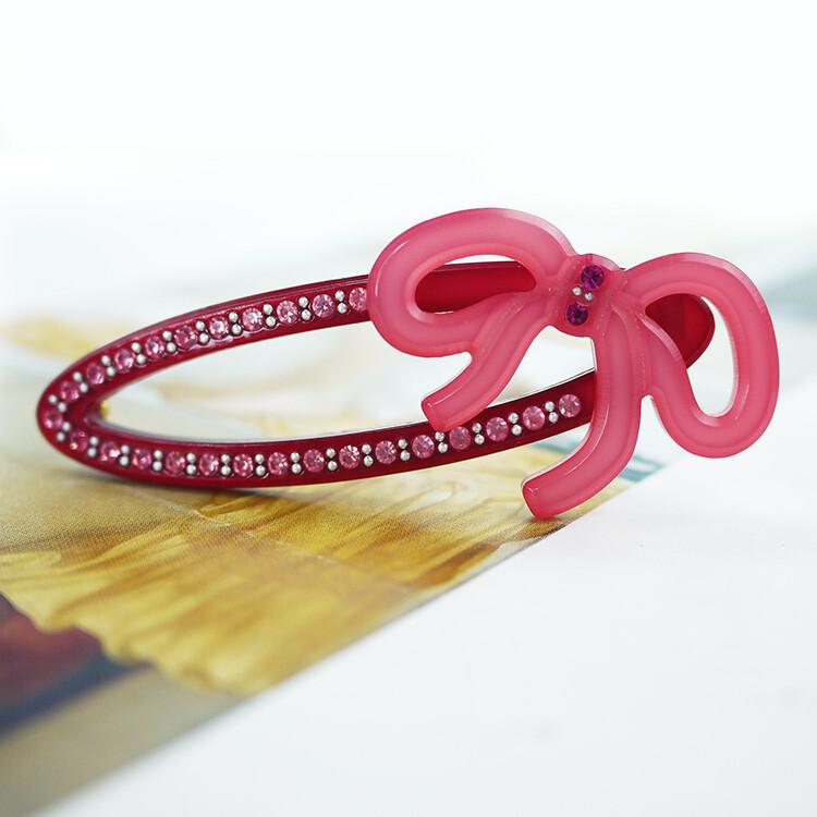 粉紅堂 髮飾 復古鏤空蝴蝶結水鑽髮夾 粉紅色