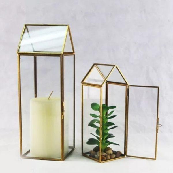 永生花diy配件幾何花房長方形小屋尺寸9*9*25.5cm不包含花材與裝飾