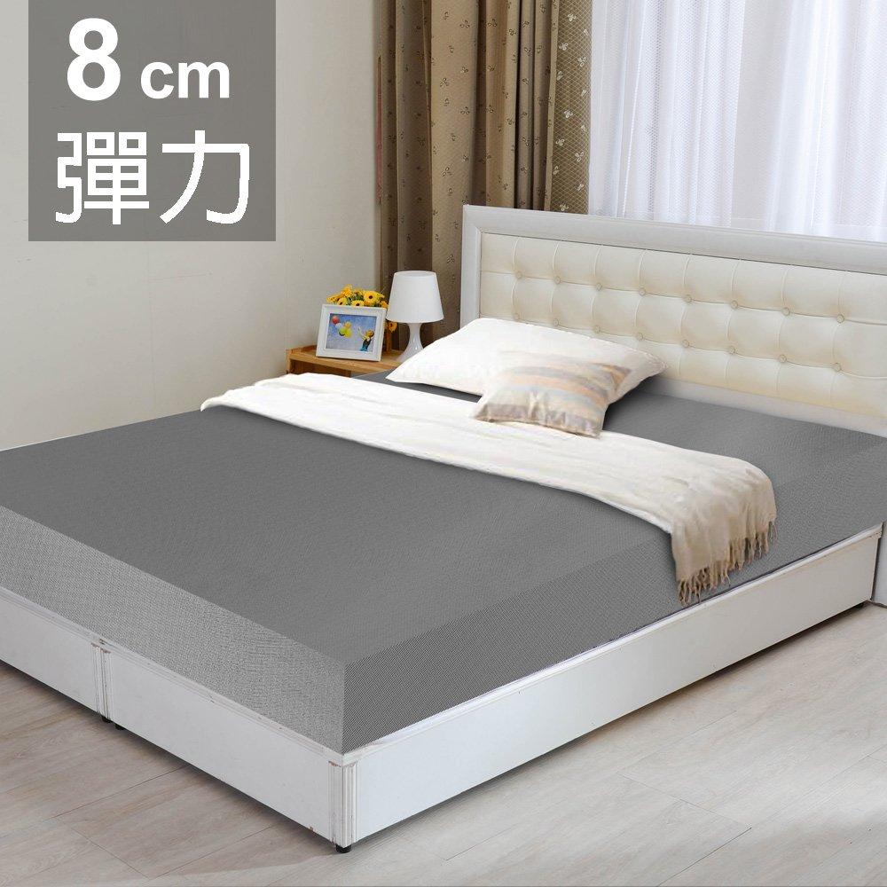 【LooCa】黑絲絨竹炭8cm彈力記憶床墊(加大6尺)