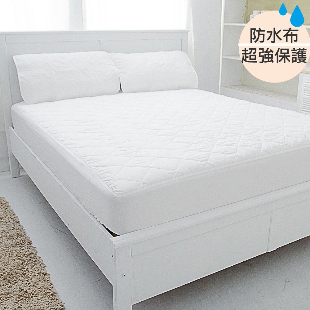 台灣嚴選【eyah宜雅】超防水舖綿QQ保潔墊-(床包式)雙人3件組(含枕墊*2)