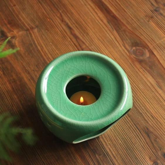 茶壺加熱底座龍泉青瓷茶爐蠟燭溫茶器陶瓷茶具花茶保溫幹燒台煮茶全館促銷限時折扣