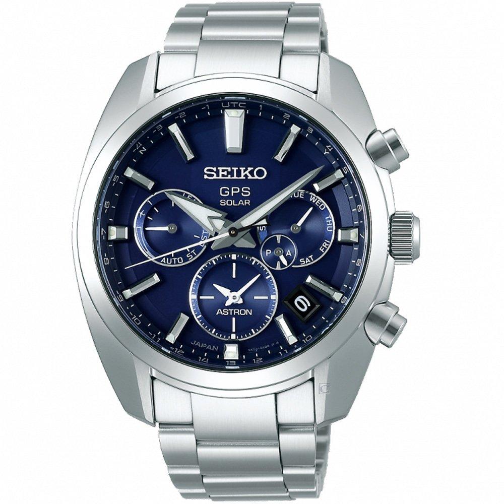 精工【SEIKO】ASTRON GPS 5X53雙時區太陽能男錶 5X53-0AJ0B SSH019J1 藍