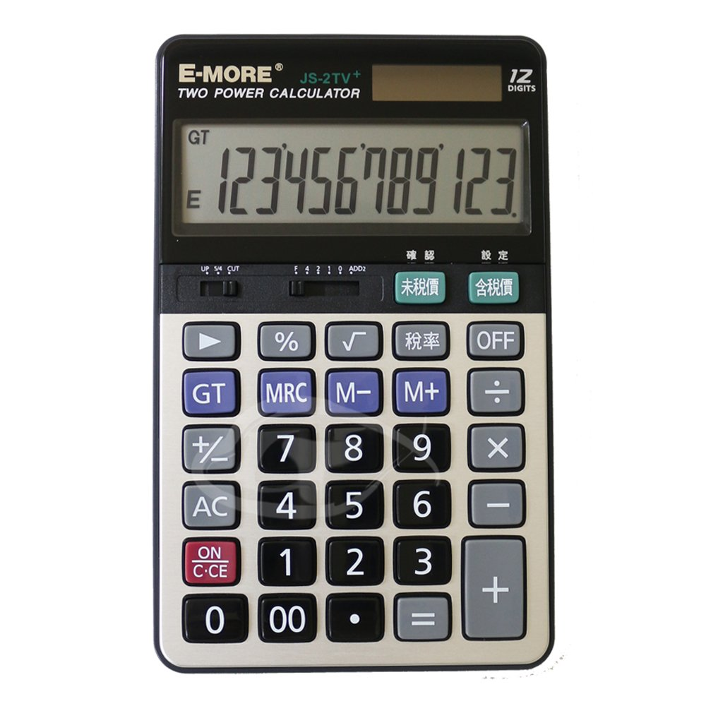 E-MORE 稅率達人-12位數可調整加值稅桌上型計算機JS-2TV+