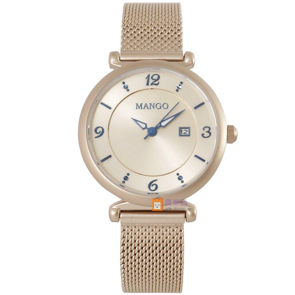 【MANGO】西班牙設計美學 簡約數字時尚米蘭帶腕錶 MA6748L-KI 霧玫瑰金 31mm