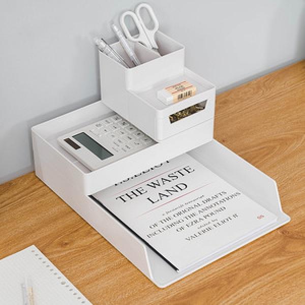 樂嫚妮 A4多功能文具桌面收納-3件組/可堆疊-(2色)白