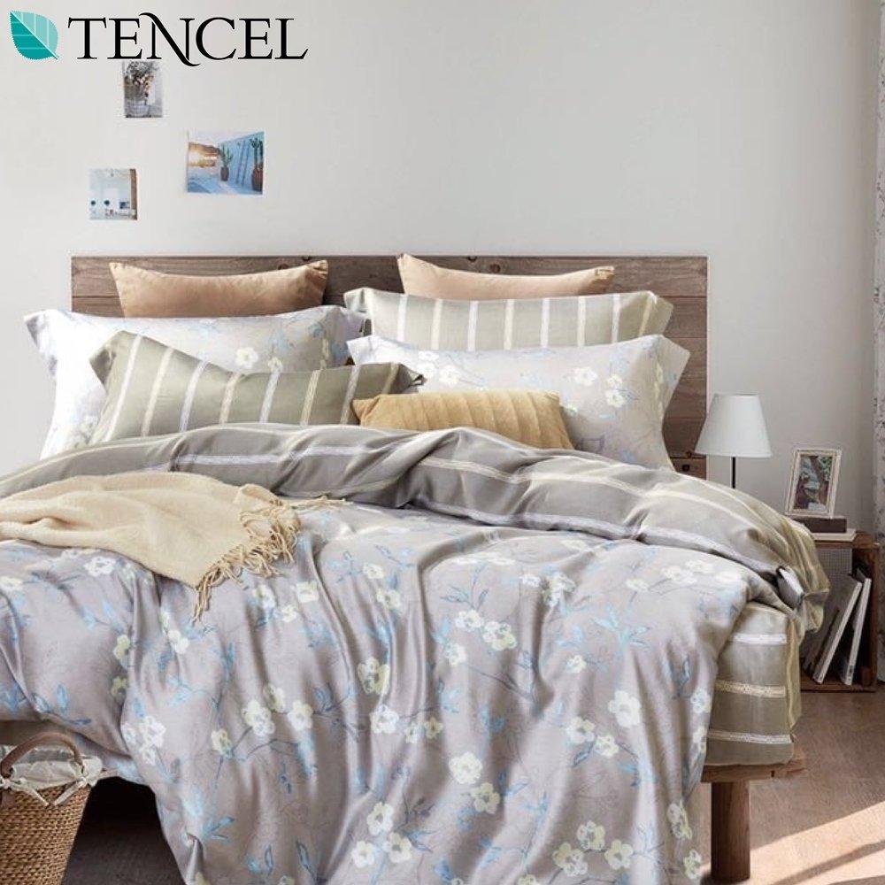 《幸福晨光》100%天絲雙人兩用被床包四件組-相依相戀