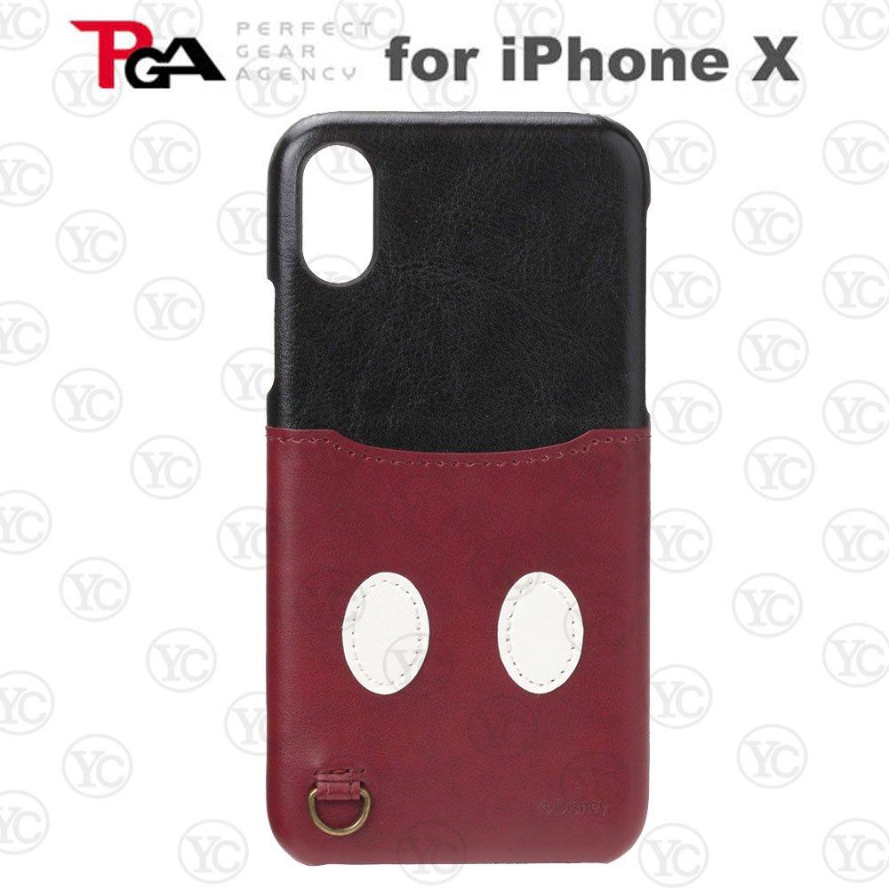 【日本 PGA-iJacket】iPhone X迪士尼皮革口袋造型硬式背蓋-米奇