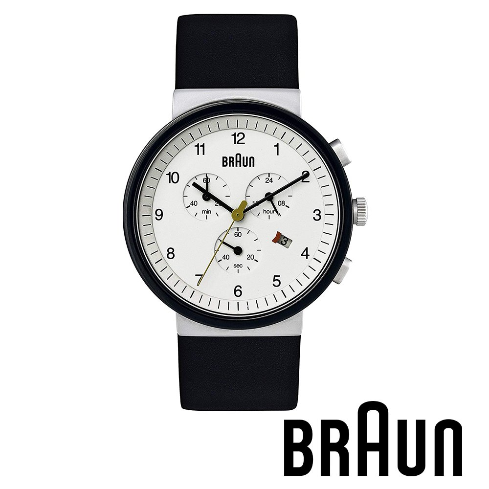 BRAUN德國百靈 經典三眼錶 日期窗 不鏽鋼皮革錶 白錶盤 (黑色/40mm/BN0035WHSLBKG)