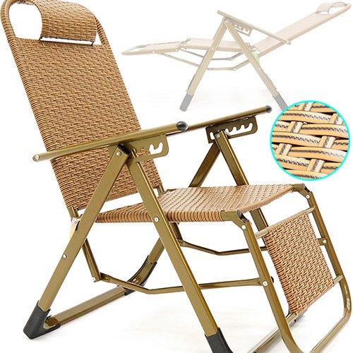 復古編織PPC雙面籐椅(露營斜躺椅麻將椅)