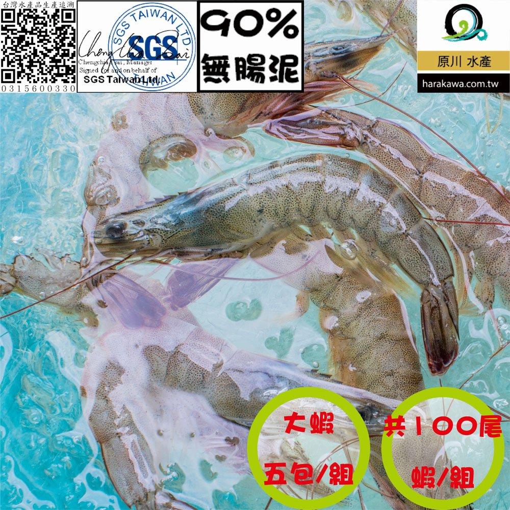 【原川水產】芝海佬白蝦 生產追溯認證 90%無腸泥 大蝦 100尾蝦 5包組 每包20尾/300公克