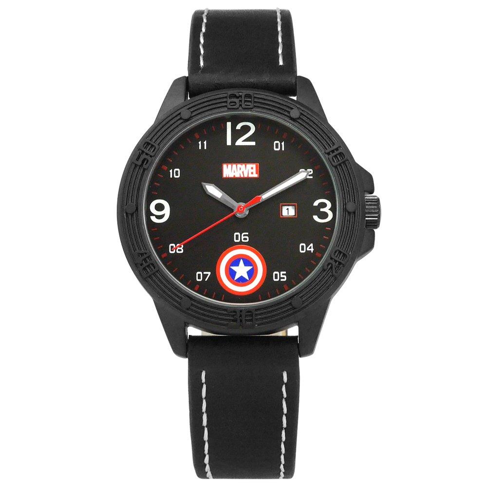 Disney 迪士尼 / MV-81074B1 / 漫威系列 美國隊長 盾牌 卡通錶 皮革手錶 黑色 36mm