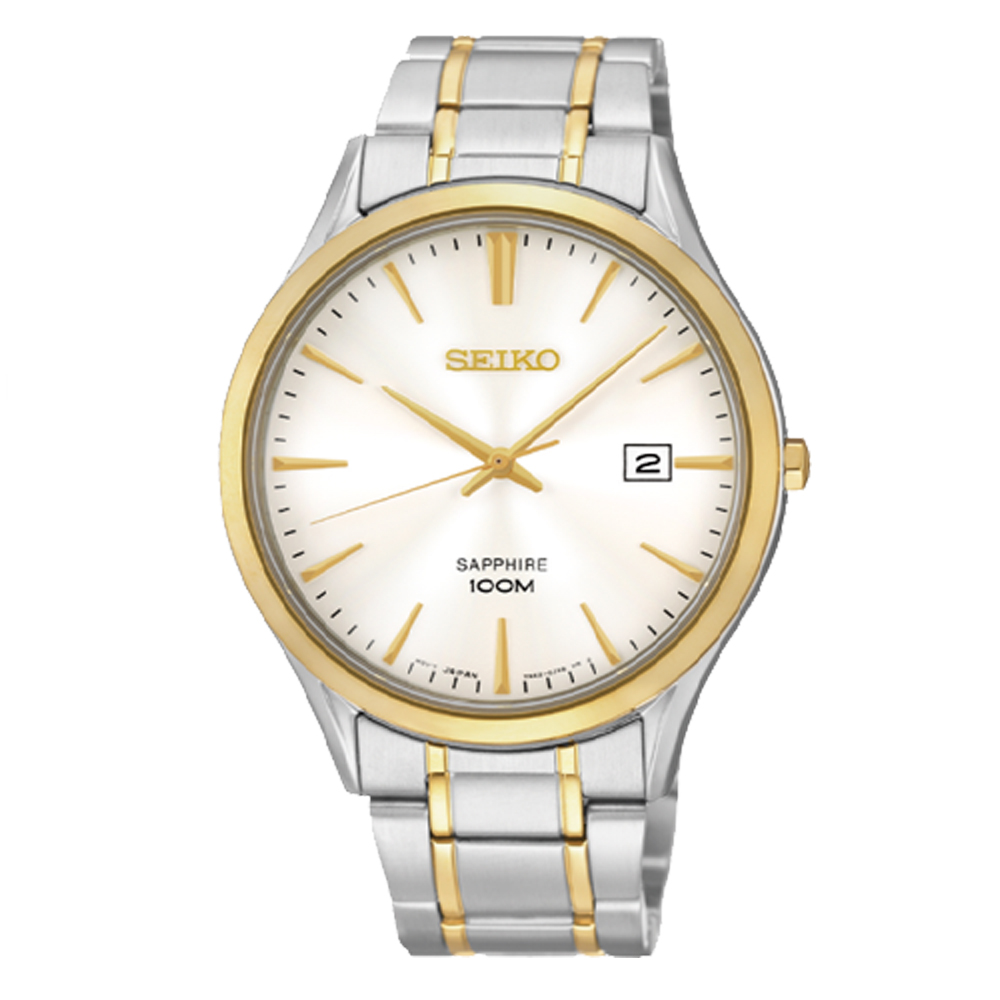 【SEIKO 精工】時尚石英男錶 不鏽鋼錶帶 銀白色 藍寶石鏡面 防水100米(SGEG96P1)