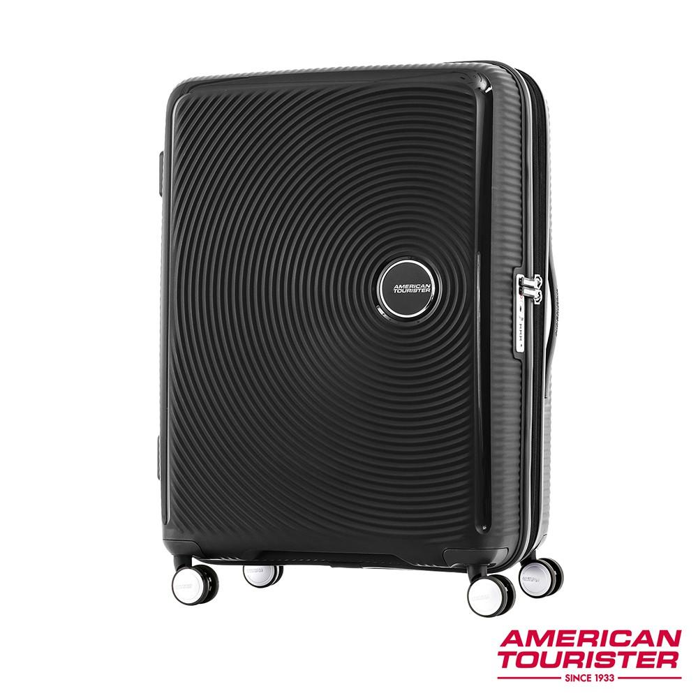 AT美國旅行者 25吋Curio立體唱盤防盜拉鍊硬殼可擴充TSA行李箱(黑)