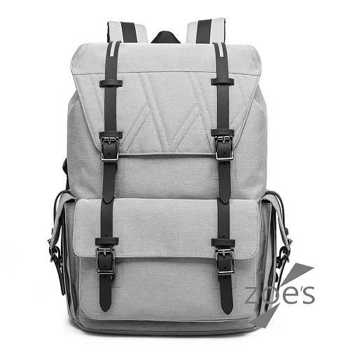 【Zoe s】KUSIM極簡設計棉麻質感輕旅行後背包(品味灰)