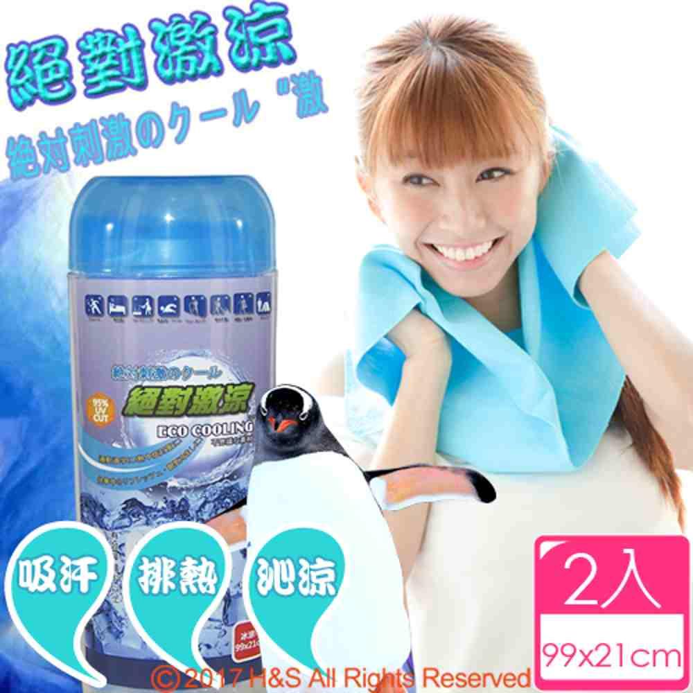 ECO COOLING絕對激涼-運動專用涼感巾(藍)2入組