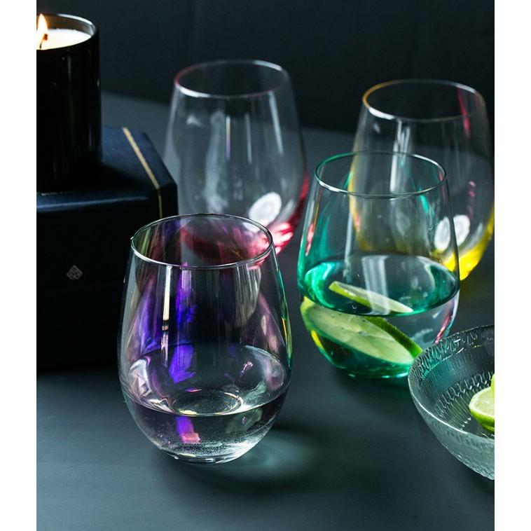 閃電髮貨 耐熱玻璃杯 牛奶杯 果汁杯 歐式防燙蛋型隔熱杯  透明杯 - 綠色/粉色