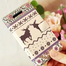 【Happymori】※Deer Sweater※ 側開手機皮套 可適用Apple IPhone5