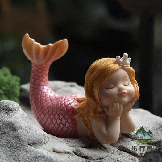樹脂裝飾品可愛美人魚魚缸擺件佈景創意少女心【步行者戶外生活館】