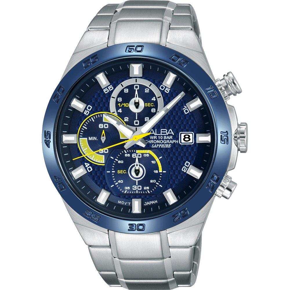 ALBA 雅柏 ACTIVE 活力玩酷型男計時腕錶-藍/44mm  VD57-X080B(AM3339X1)
