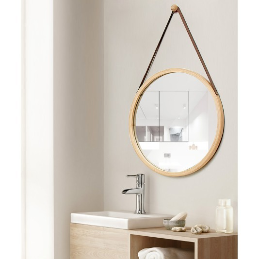 現貨北歐衛生間鏡子梳化妝鏡浴室鏡壁掛廁所洗手間圓鏡子貼墻裝飾掛鏡 -  本色小方鏡贈同色竹掛鉤40.