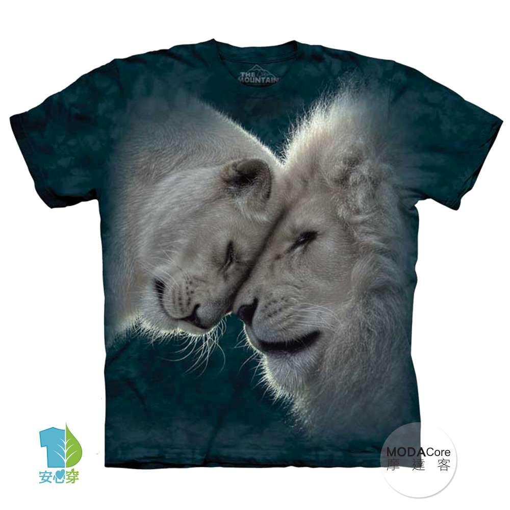 【摩達客】美國進口The Mountain 白獅之愛 純棉環保藝術中性短袖T恤-預購-3XL