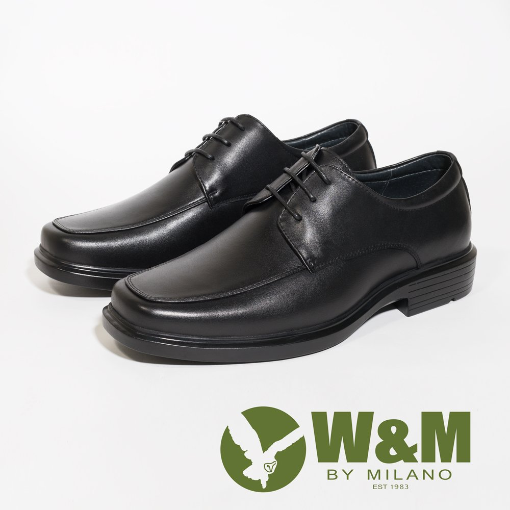 W&M 氣墊感寬楦方頭綁帶經典男皮鞋-黑