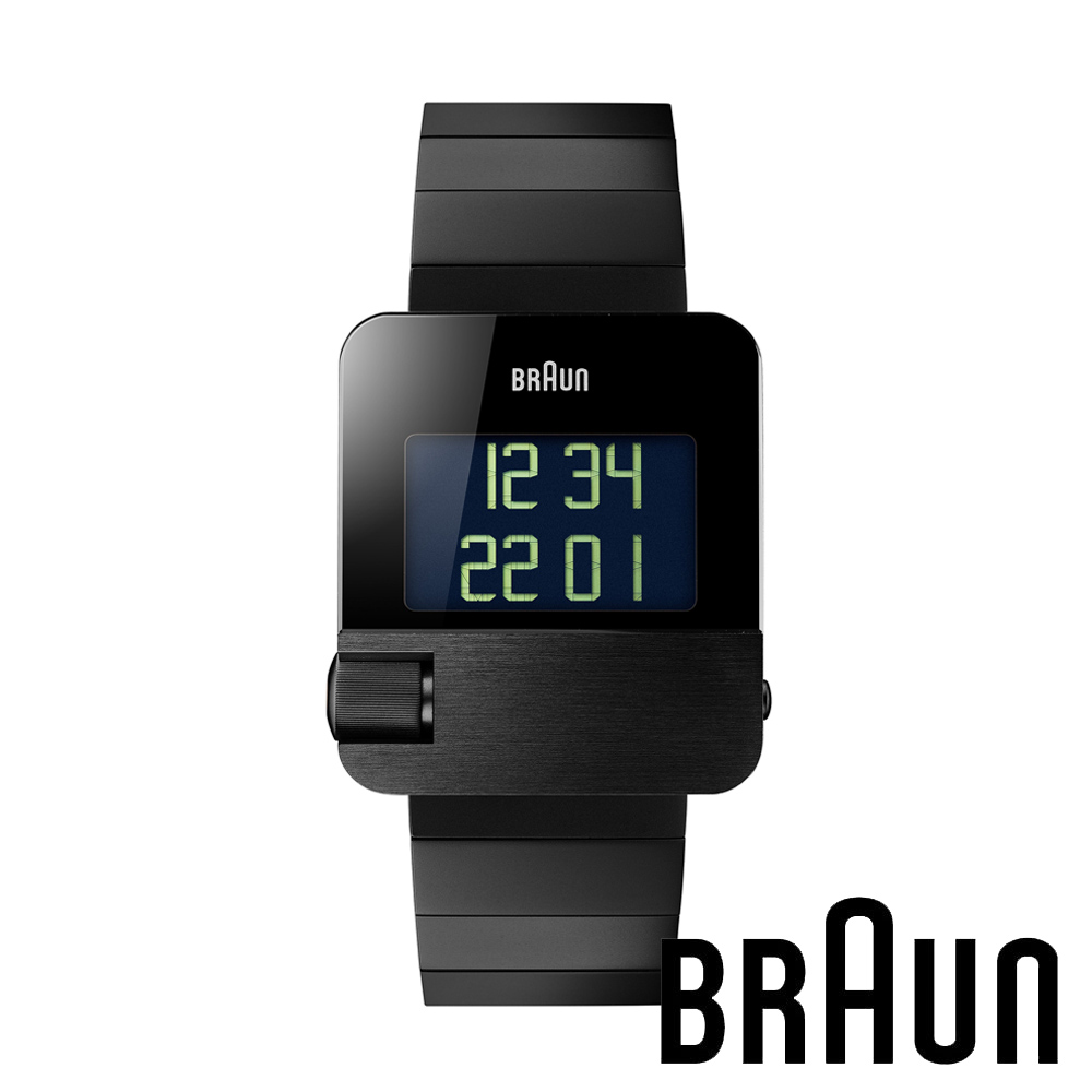 BRAUN德國百靈 電子LCD顯示錶 LED設計款不鏽鋼錶 黑錶盤 (黑色/42mm/BN0106BKBTG)