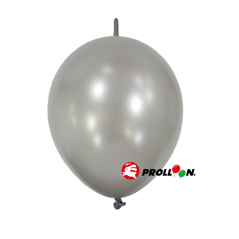 大倫氣球12吋珍珠色 圓形連接氣球 針球 100顆裝 銀色 台灣製造 安全無毒