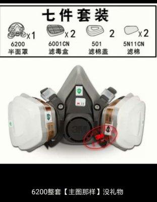 綸綸 3m防毒面具6200套餐一7件+10片棉(速出貨)3m公司仿偽標籤 防護口罩喷漆專用甲醛化工業防氣裝修活性炭面罩