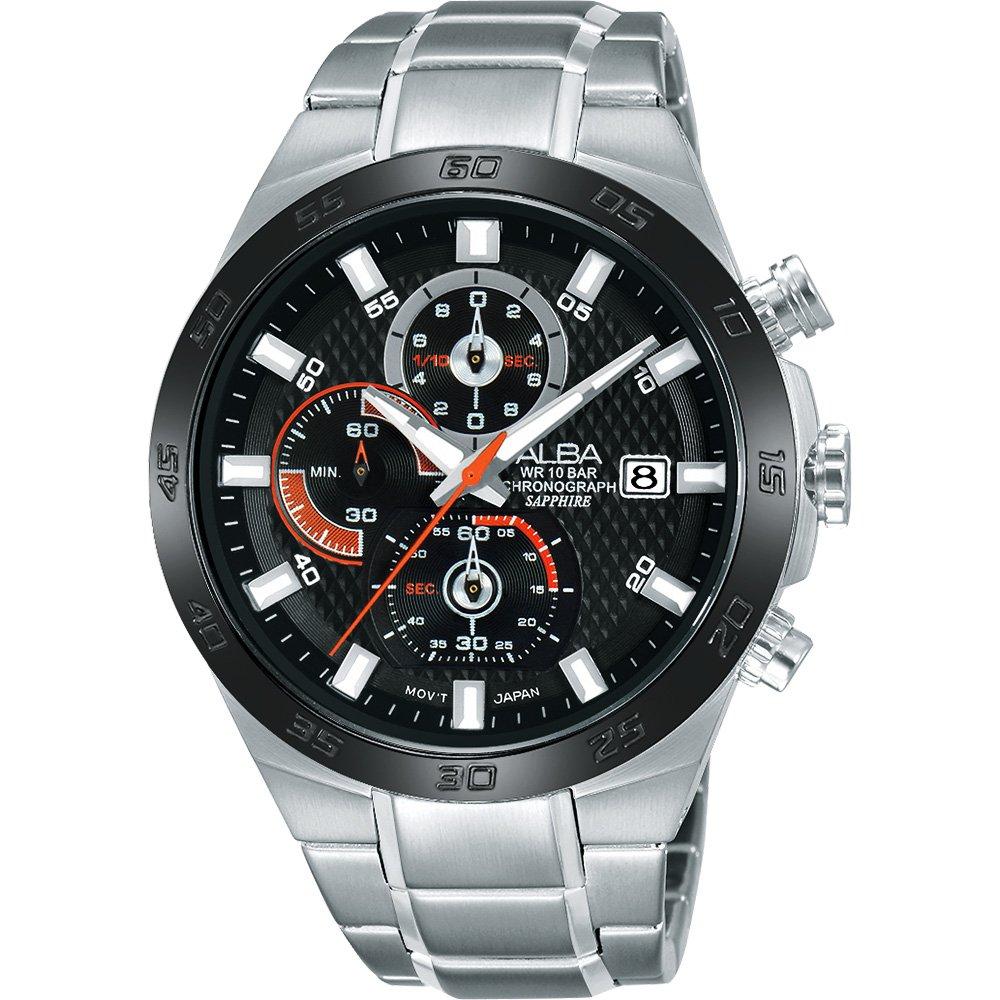 ALBA 雅柏 ACTIVE 活力玩酷型男計時腕錶-黑/44mm  VD57-X080D(AM3337X1)