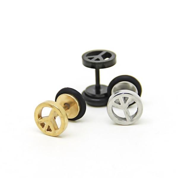 316l醫療鋼 小反戰和平符號 旋轉式耳環- 金銀黑 防抗過敏 單支販售