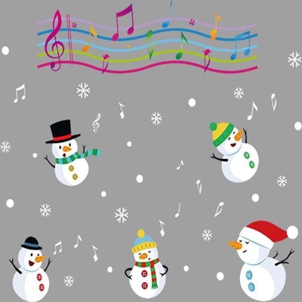 聖誕節 彩色音符 音樂小雪人 xl838創意可重覆貼壁貼 玻璃櫥窗裝飾 室內 節日佈置yv4417