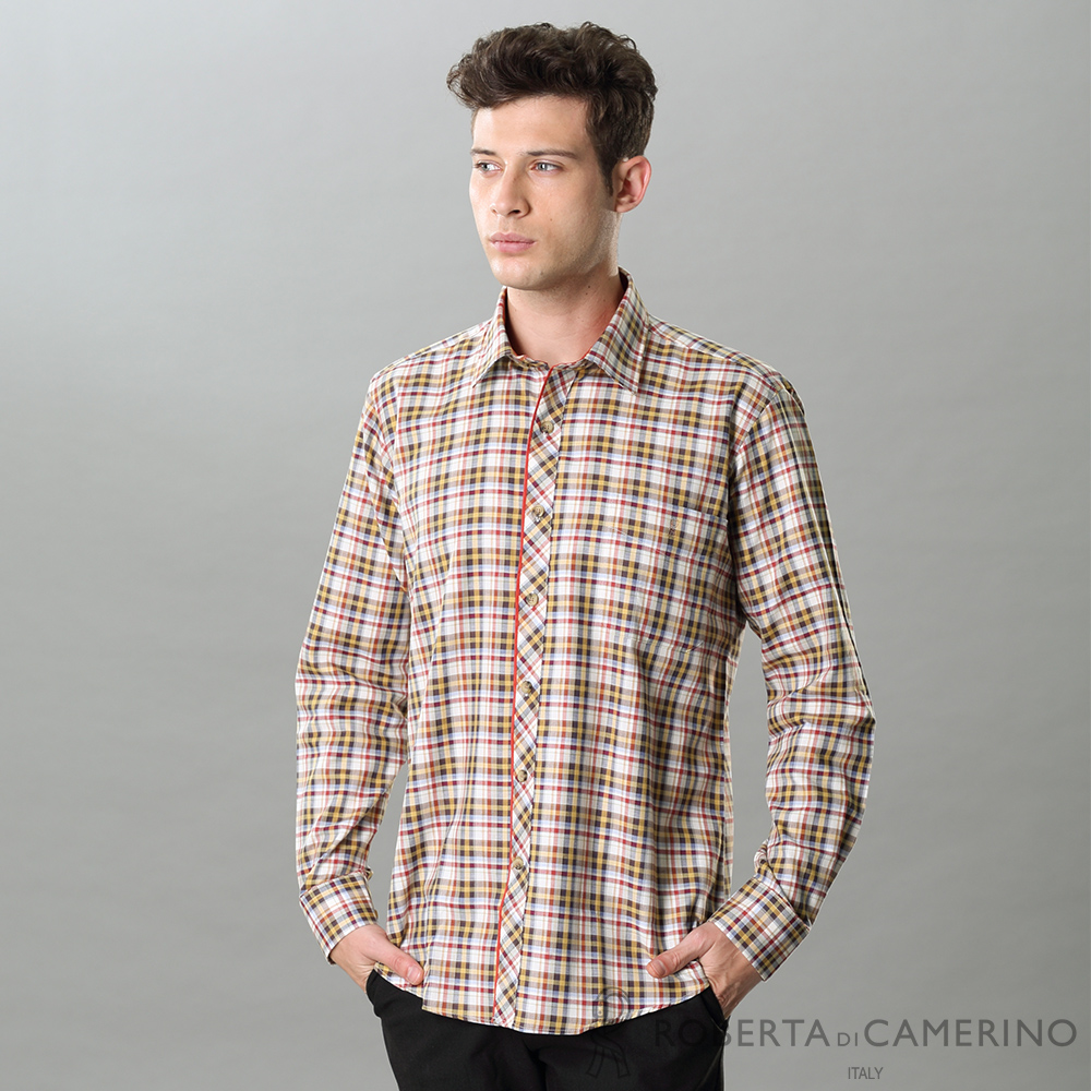 ROBERTA諾貝達 進口素材 台灣製 調皮格紋 休閒長袖襯衫 橘色