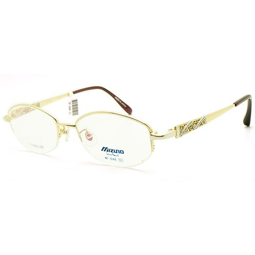 【MIZUNO】美津濃 鈦金屬 光學眼鏡鏡框 MF-646 C1 半框 橢圓鏡框眼鏡 金 51mm
