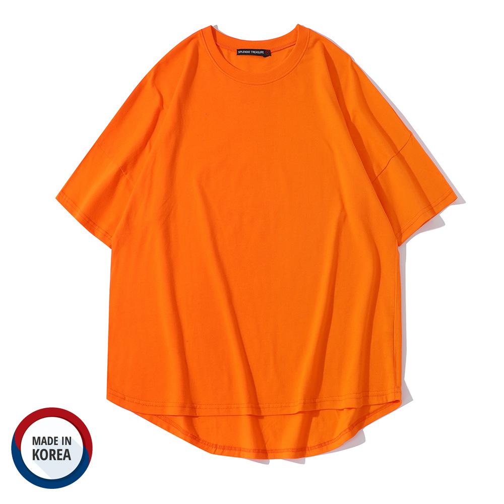 正韓國製 中磅 落肩 oversize圓弧下擺前短後長五分袖上衣 男女可穿【QM1806】