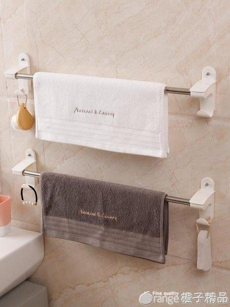 雙慶吸盤式毛巾架免打孔不銹鋼浴室單桿毛巾桿衛生間毛巾掛架掛桿全館促銷限時折扣