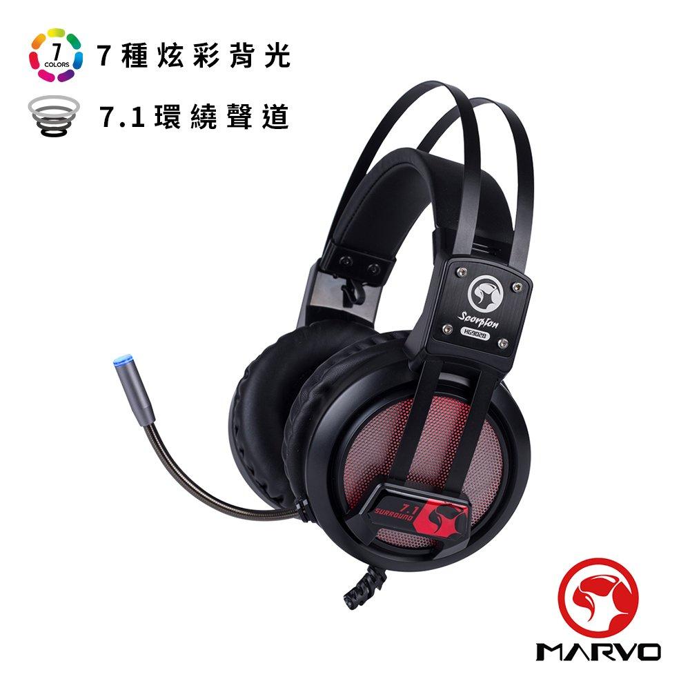 【MARVO魔蠍】 HG9028 RGB電競耳罩式耳機