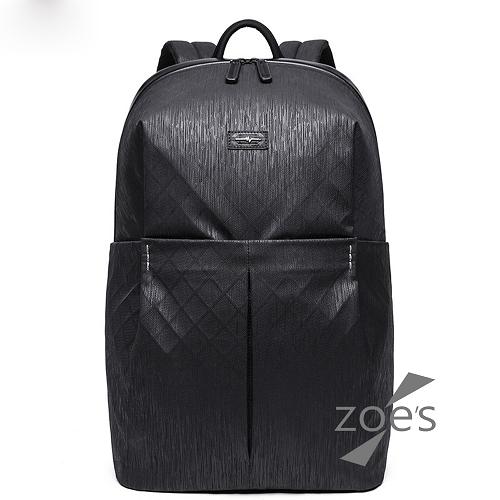 【Zoe s】KUSIM防潑水菱格紋雙肩包(性格黑)