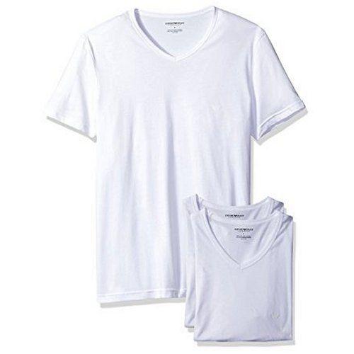 【EMPORIO ARMANI】2018時尚舒適白色V領內衣3件組【預購】
