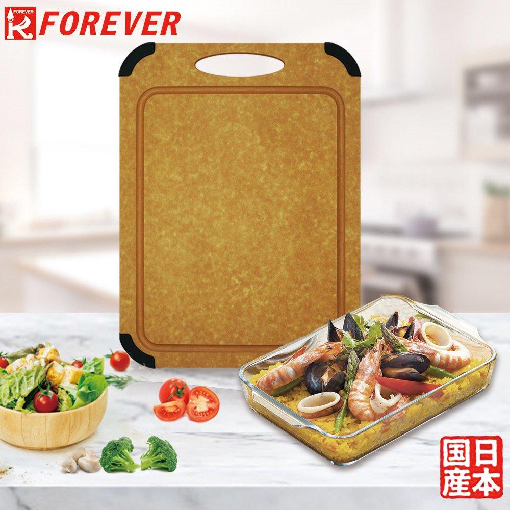 日本FOREVER松木防霉集水溝槽設計(大)贈日本進口圓角型微波玻璃烤盤