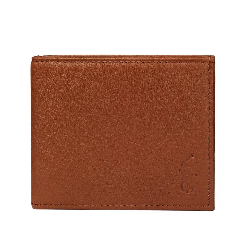 Ralph Lauren POLO 經典logo荔枝紋皮革六卡短夾-淺棕色 780216-4