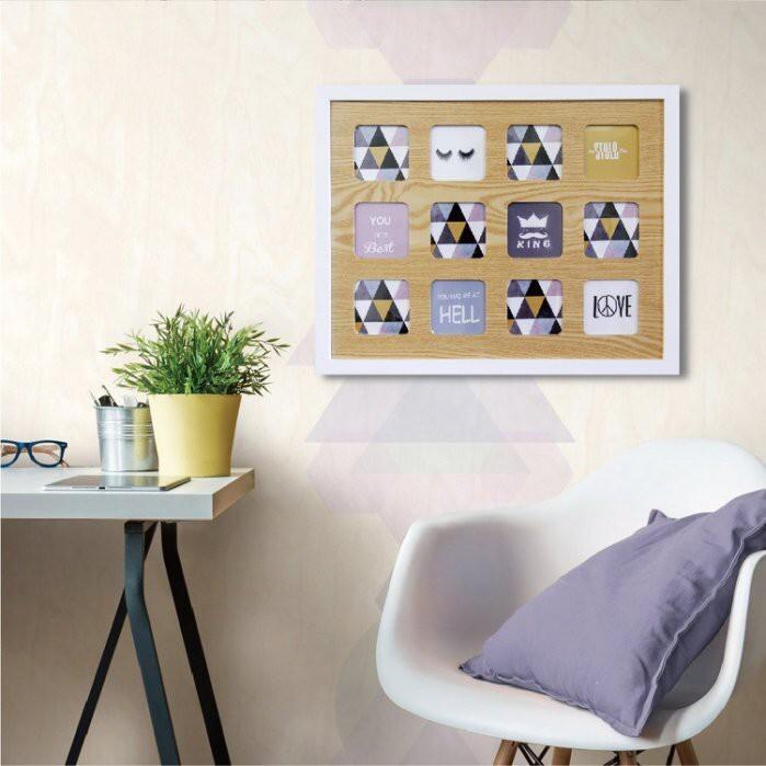 tromso繽紛北歐木紋大相框12框款/3x3壁掛 簡約北歐風 直式 搬家喬遷禮物臥室房間